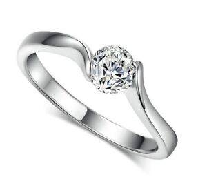 Simple Design Cubic Zirconia Wedding Ring Silver S925  ***FREE POST***