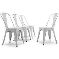 Set of 4 Metal Dining Chair Stackable Bistro Cafe Side Stool Retro Design, White