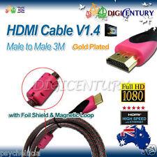 HDMI Cable V1.4 Full HD 3D HighSpeed Ethernet Foil Shield & Magnetic Loop 3m