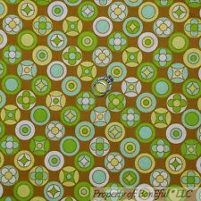 BonEful Fabric FQ Cotton Quilt Green Brown Flower Retro Calico Hippie Polka Dot