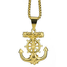 "Jesus Cross Anchor Men's Gold Stainless Steel Pendant Chain 22"" Necklace set"
