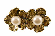 Gold Flower Floral Daisy Leaf Pearl Costume Jewellery Double Finger Ring