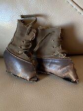 Zapatos Botas De Muñeca Antigua Oso de Cuero de Lona con Cordones 19th Victoriano centenaria