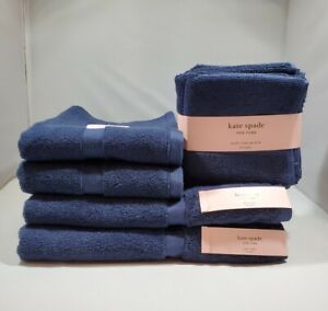 KATE SPADE Harrington NAVY BLUE 8 Piece Bathroom Towel Set 100% Cotton - NEW