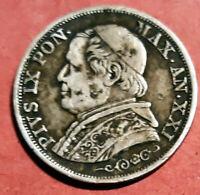 Vaticano 1866 R Pio IX 1 Lira XXI R @ Muy Bella @