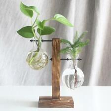 Vintage Glass Crystal Vase Wood Tray Flower Pot Plant Hydroponic Desktop Wedding