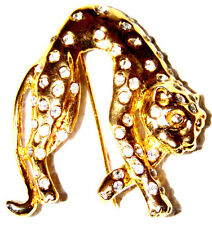 VINTAGE STUNNING GOLD TONE CLEAR CRYSTAL PANTHER PIN BROOCH