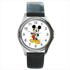 Brand NEW Mickey Mouse M4 SS Leather Band Quartz Watch