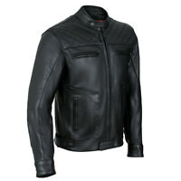 Mens's Black Motorbike Motorcycle Diamond Leather Jacket CE Protection Cowhide