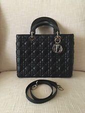 Auth Christian Dior Medium Lady Dior Bag