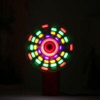 Portable Handheld Cooling Fan Colorful LED Mini Light Battery Power W/Strap E0