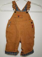 Boys 6-9 mos Osh Kosh B'Gosh Carpenter Tool Brown Overalls Vestbak Flannel Lined