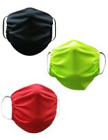 Face Mask Washable Reusable Adult Unisex 3 Pack(Red,Black,Neon) Made in USA