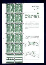 FRANCE - FRANCIA - 1955-59 - Marianna 12 f. verde - Blocco di 10 es. con pubblic