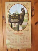 "Vintage 1972 Budweiser Beer Clydesdale LARGE Calendar Newark , NJ~ 30"" LONG"