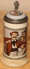 Men Drinking & Smoking Mettlach 1/2L German beer stein antique # 3219