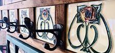 Art Nouveau Tiled Coat & Hat Rack Reclaimed Wood Antique Iron