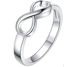 925 Sterling Silver Infinity Love Knot Eternity Promise Size 7 Ring Band Gift