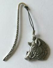 Boars Head Pewter Bookmark Book Mark Made In UK. wild pig. New