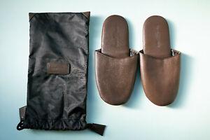 PENHALIGON'S Brown Leather MEN'S Mule Slippers w/ Waterproof Bag - MEDIUM (B6)
