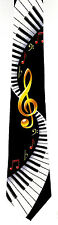 Piano Clef Mens Neck Tie Music Musical Notes Keyboard Musician Black Necktie