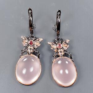 65 ct+ Sweet Pink IF Rose Quartz Earrings Silver 925 Sterling   /E57366