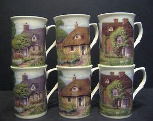 6 Set Of Six Cottages Fine Bone China Mugs Cups Beakers