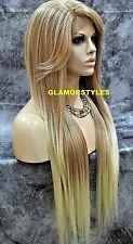 Long Straight Bangs Medium Blonde Lace Front Full Wig Heat Ok Hair Piece 27.613