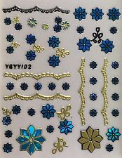 Nail Art 3D Decal Stickers Blue & Gold Flowers & Lace YGYY102