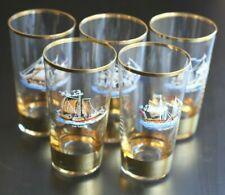 "gold-rimmed glass tumblers tall ship Hope HMS Agamemnon Comet Mona's Isle 4-1/2"""