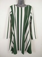 BNWT WOMENS MISSLOOK GREEN AND WHITE STRIPED A-LINE DRESS SIZE S/M