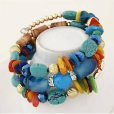 Woman Boho Shell Glass Beads Multilayer Bracelet Bangle Beach Jewelry Charm