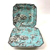 222 Fifth Adelaide Turquoise Salad Plates Set of 2 Luncheon Dinnerware