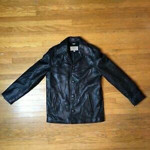 Vintage 1981 GUESS Black Leather Jacket - Adult Size: Small (Loose Fit)