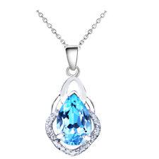 Aqua Ocean Blue Crystal tear pear Women Something Blue for Wedding Necklace N549