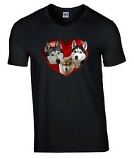 More details for plus size tee husky dogs in heart tshirt 3xl t-shirt birthday gift huskies
