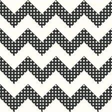 Black & White Chevron Stripes with Polka Dots Sure Strip Wallpaper KS2311