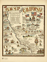 Historic Pictorial Flag Map of California Vintage History Wall Art Poster Decor