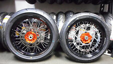 "SUPERMOTO 17"" WHEELS WITH TIRES KTM 500 EXC ORANGE HUBS / ROTORS AND SPROCKET"