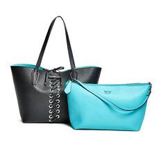 NWT GUESS Bobbi 3 in 1 Reversible Classic Tote Handbag Purse Qua Blue Black