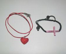 Lot Style Shamballa Bracelet Croix + Collier Pendentif Coeur Rouge NEUF