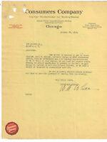 1918 CONSUMERS COMPANY { KNICKERBOCKER ICE + CITY FUEL } CHICAGO ILL LETTERHEAD
