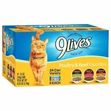 9Lives Poultry and Beef Variety Pack, 5.5 oz cans, 24-Count, New, Free Shipping