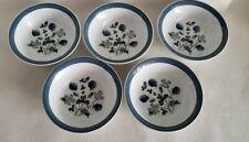 Alfred Meakin Blue Clover Smooth Edge Fruit Dessert Bowls - Set of 5
