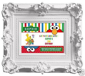 Personalised Sesame Street Birthday Party Poster A4 Wall Sign Banner- Elmo BigBi