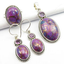 925 Solid Silver MOHAVE TURQUOISE, AMETHYST Pendant Earrings Ring Sz 7.75 SET