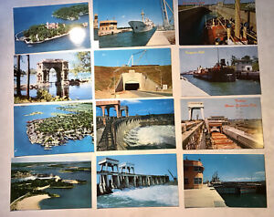 12 Vintage 1950s Postcards Of St. Lawrence Seaway, Locks, And Thousand Islands