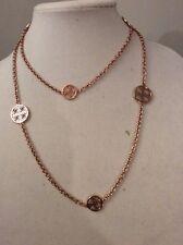 MICHAEL KORS 'Heritage' Monogram Disc Rose Gold-Tone Long Necklace $MK 400