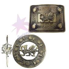 KILT PIN/kilt Boucle de ceinture et Fly Plaid Broche Dragon Badge Set finition antique
