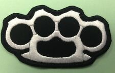KNUCKLE RINGS EMBROIDERED PATCH IRON ON OR SEW ON- BRASS DUSTER ENFORCER BIKER